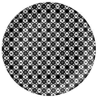 Graphic Black & White Design Porcelain Plate