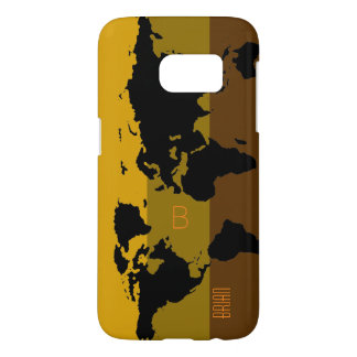 graphic black world map personalized samsung galaxy s7 case