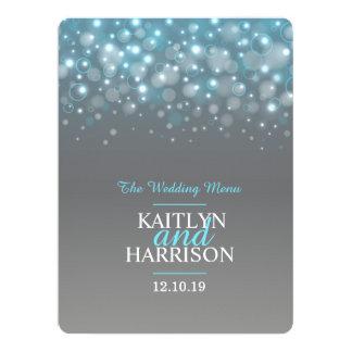 "Graphic bubble grey blue wedding dinner menu 6.5"" x 8.75"" invitation card"