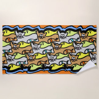 Graphic Cats and Fish Cartoon Beach Towel
