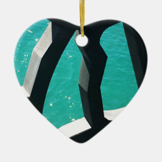 Graphic Ceramic Heart Ornament