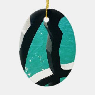 Graphic Ceramic Oval Ornament