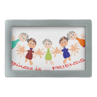 Graphic Characters with Text Happiness_is_Friends Belt Buckle