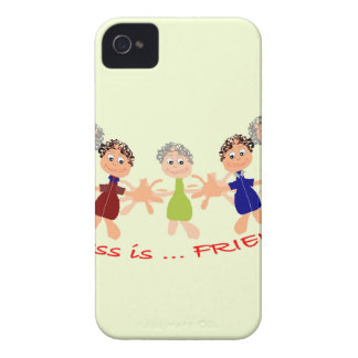 Graphic Characters with Text Happiness_is_Friends Case-Mate iPhone 4 Case
