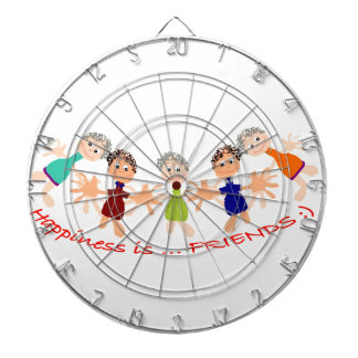 Graphic Characters with Text Happiness_is_Friends Dartboard