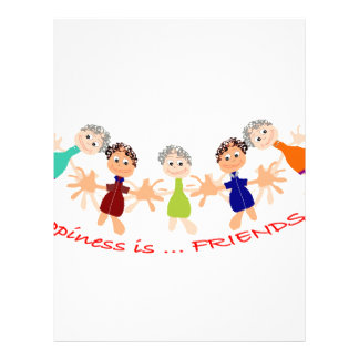 Graphic Characters with Text Happiness_is_Friends Letterhead