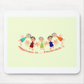 Graphic Characters with Text Happiness_is_Friends Mouse Pad