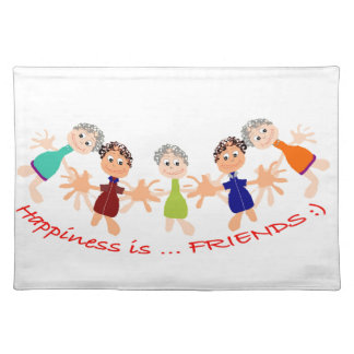 Graphic Characters with Text Happiness_is_Friends Placemat