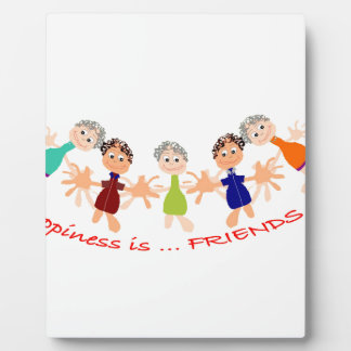Graphic Characters with Text Happiness_is_Friends Plaque
