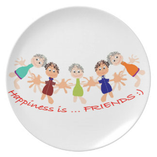 Graphic Characters with Text Happiness_is_Friends Plate