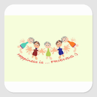 Graphic Characters with Text Happiness_is_Friends Square Sticker