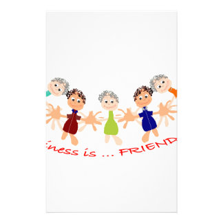 Graphic Characters with Text Happiness_is_Friends Stationery