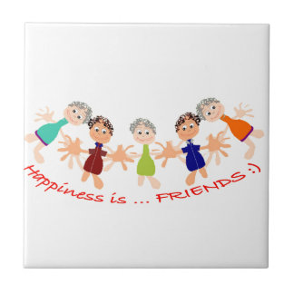 Graphic Characters with Text Happiness_is_Friends Tile