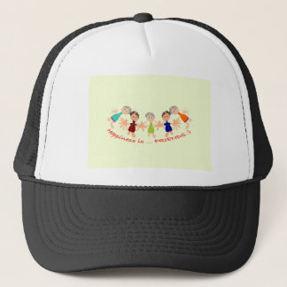 Graphic Characters with Text Happiness_is_Friends Trucker Hat