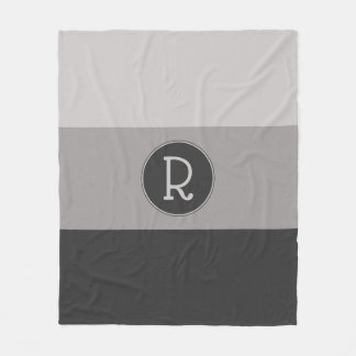 Graphic Charcoal Gray and Taupe Monogrammed Fleece Blanket