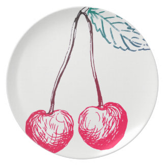 Graphic Cherry Melamine Plate