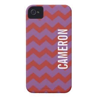 Graphic chevron pattern red purple your name iPhone 4 Case-Mate cases