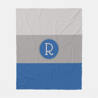 Graphic China Blue and Taupe Monogrammed Fleece Blanket