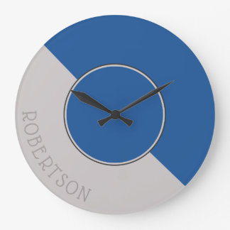 Graphic China Blue and Taupe Personalized Large Clock