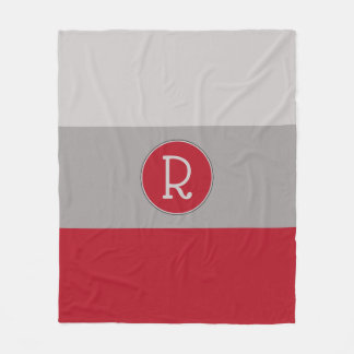 Graphic Crimson Red and Taupe Monogrammed Fleece Blanket