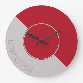 Graphic Crimson Red and Taupe Personalized Large Clock