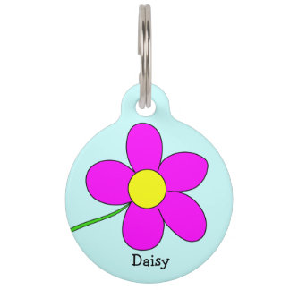 Graphic Daisy Flower on Blue Background Custom Pet Name Tag