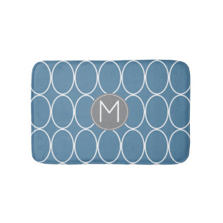 Graphic Design Blue and Gray Monogram Bath Mat