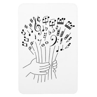 Graphic design : flowers of musical notes - magnet