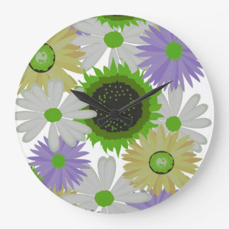 Graphic Design Flowers Wall Clock