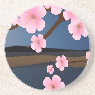 Graphic Design of Cherry Blossom Beverage Coasters