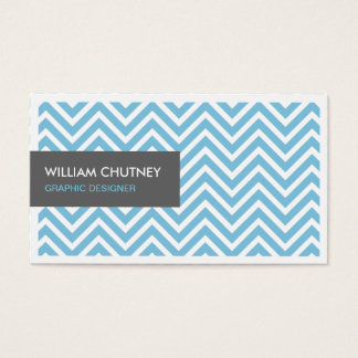 Graphic Designer - Light Blue Chevron Zigzag Business Card