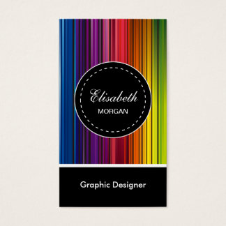 Graphic Designer - Modern Colorful Stripes Business Card