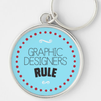 Graphic Designers Rule Keychain – Blue