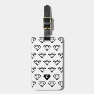 Graphic Diamond Initial Monogram Luggage Tag