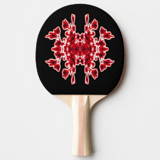 Graphic Floral Black White Red Ping Pong Paddle