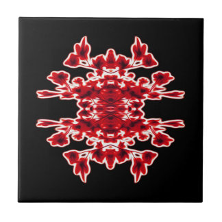Graphic Floral Black White Red Tile