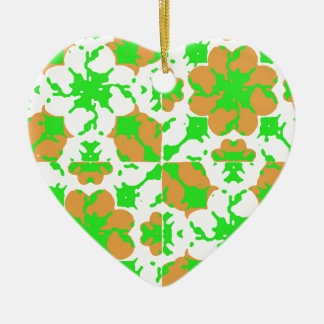 Graphic Floral Pattern Ceramic Heart Ornament