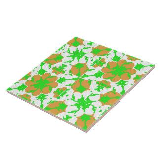 Graphic Floral Pattern Ceramic Tile