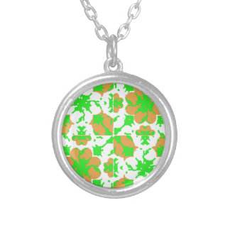 Graphic Floral Pattern Silver Plated Necklace