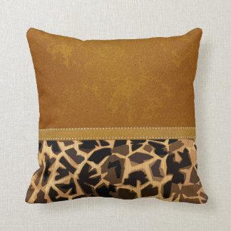 Graphic Giraffe Print Digital Distressed Leather Throw Pillow