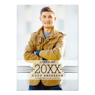 "Graphic Grad   Black Text Photo Graduation Party 5"" X 7"" Invitation Card"