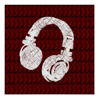 graphic headphone with g-clefs poster