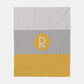 Graphic Hot Mustard and Taupe Monogrammed Fleece Blanket
