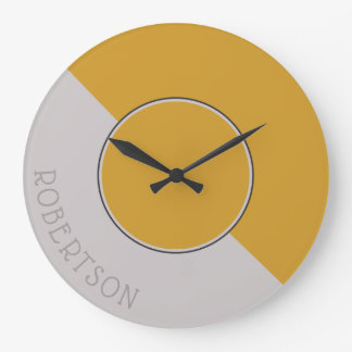 Graphic Hot Mustard and Taupe Personalized Large Clock