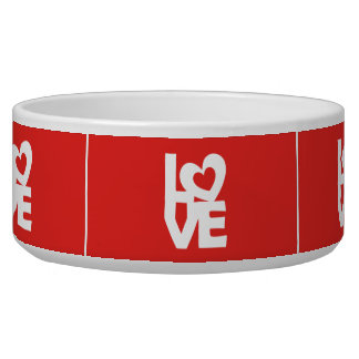 Graphic Illustration I love You with heart on red Pet Bowl