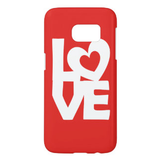Graphic Illustration I love You with heart on red Samsung Galaxy S7 Case