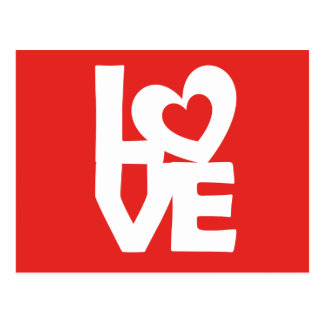 Graphic illustration I love You with heart on talk Postcard