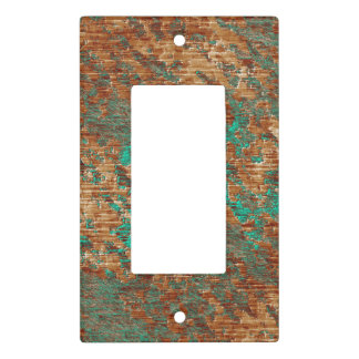 Graphic Lined Turquoise and Copper Plaster Pattern Light Switch Cover