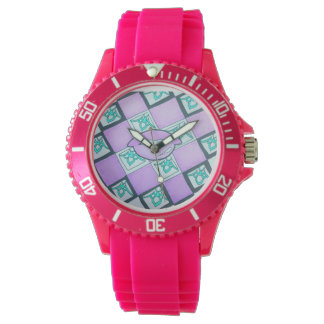 Graphic lip collection pink watch