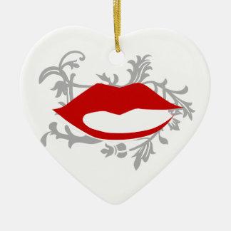 graphic lips ceramic ornament